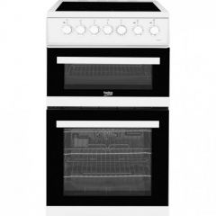 Beko EDVC503W 50cm Double Oven Electric Cooker With 4 Zone Ceramic Hob - White