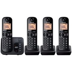 Panasonic KXTGC224EB Quad Handset Digital Cordless Phone with Answerphone