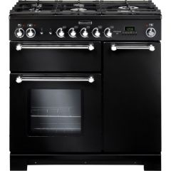Rangemaster 81420 KCH90DFFBL/C Kitchener 90cm DF FSD Range Cooker Black/Chrome