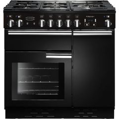 Rangemaster 91630 PROP90DFFGB/C Professional Plus 90cm Dual Fuel Range Cooker Black/Chrome