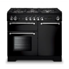 Rangemaster 98790 KCH100DFFBL/C Kitchener 100cm Dual Fuel Range Cooker Black/Chrome