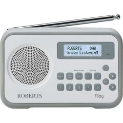 Roberts Radio PLAY WHITE DAB/DAB+/FM RDS DIGITAL Radio with Built-In Battery Charger