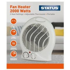 STATUS FH1P-2000W1PKB 2KW Upright Fan Heater with Adjustable Thermostat