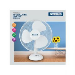 STATUS S12DESKFAN 12` 3 Speed Oscillating Desk Fan