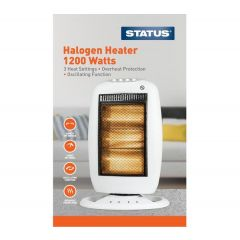 STATUS WHT1200W1PKB 1200W 3 BAR 3 HEAT SETTINGS Halogen Heater
