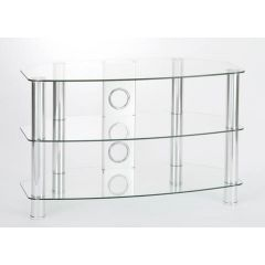TTAP VANTAGE CURVE 600 CLEAR AVS-C303C-600-3CC 600mm Curved Clear Glass/Chrome 3 Shelf Television St