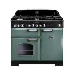 Rangemaster 127410 CDL100DFFMG/C Classic Deluxe 100 Dual Fuel Range Cooker Mineral Green